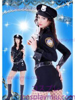 Sexy Long Sleeve Lady Police Costumi rattoppato