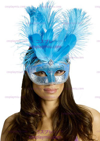 Carnival Mask Feather Turquois