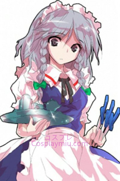 Touhou Progetto Izayoi Sakuya Light Purple a breve con lunga parrucca Cosplay Braid